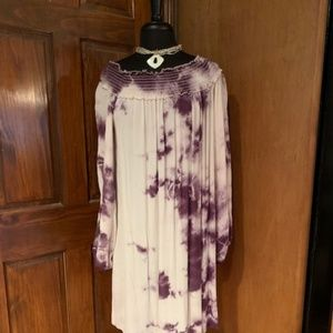 Purple Tye Dye Off the Shoulder Dress Size Sm